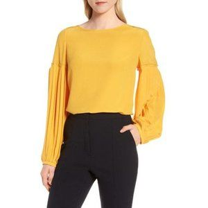 Lewit Yellow Silk Pleated Sleeve Blouse XS
